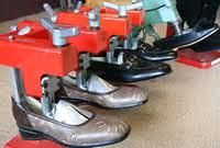 fashion shoes being stretched in a shoe store