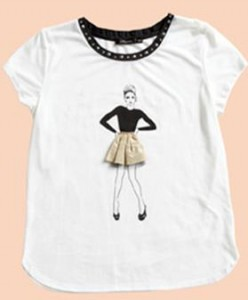 'Girl in Skirt' embellished t-shirt from Portmans