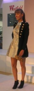 Military Style Jacket over Gold Embossed Dress