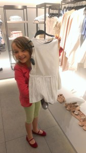 mini stylist pick, white shiny dress with silver shoes
