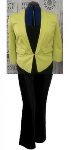 Bright jacket teamed with black, they are both fighting for attention.