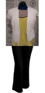 Black pants with a coloured top? Team with a neutral tone jacket like this white short sleeved one.