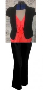 Black jacket & pants with a coral top...too harsh!
