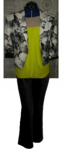 Patterns like this black & white jacket work really well when teamed with a colour & black.