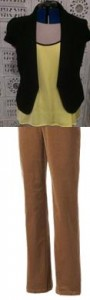 You can choose a different neutral like this tan/beige tone. Works well with a yellow top & black jacket.